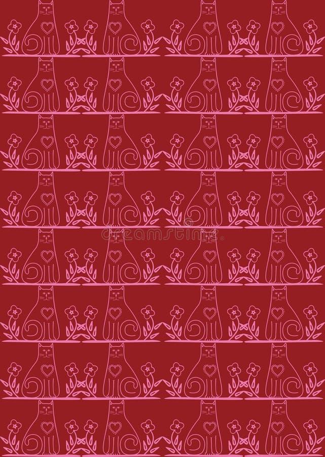 tła kota czerwień bezszwowa royalty ilustracja