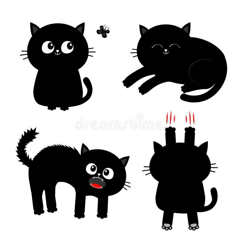 tła kota projekta ilustracyjny setu wektoru biel Gwoździa pazura narys, obsiadanie, krzyczący, śpiący, patrzejący motyla czarny k royalty ilustracja