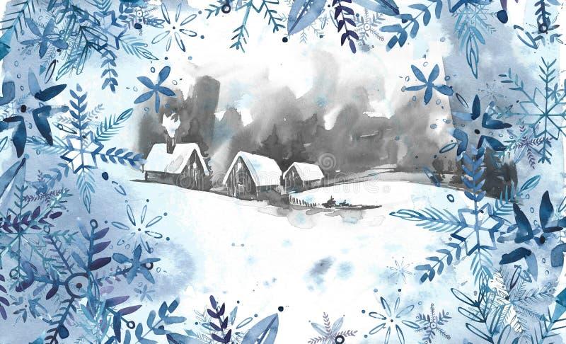 tła krajobrazowa halna Spain biel zima Akwarela obraz, obrazek - las, natura, drzewo Ja może używać jako logo, karta ilustracji