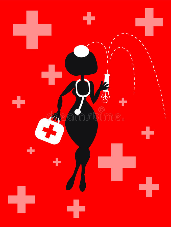tła kreskówki ikon medyczna wektorowa kobieta royalty ilustracja