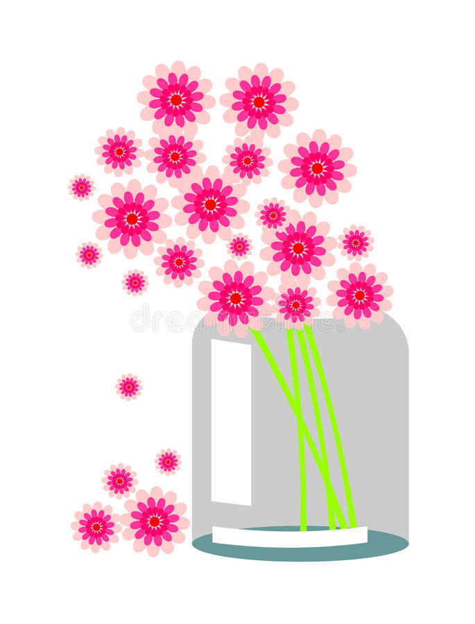 tła kwiatów życia czerwonej nakreślenia wciąż wazy wektorowy kolor żółty Skład z różowymi kwiatami ilustracji