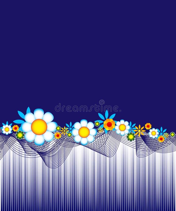 tła kwiecisty błękitny ciemny ilustracji