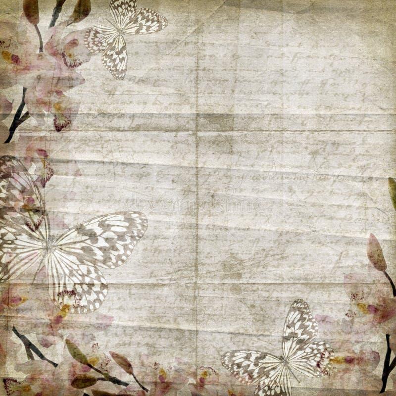 tła kwiecisty orchidei rocznik ilustracja wektor