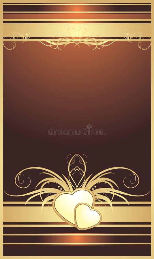tła kwiecisty złoty serc ornament royalty ilustracja