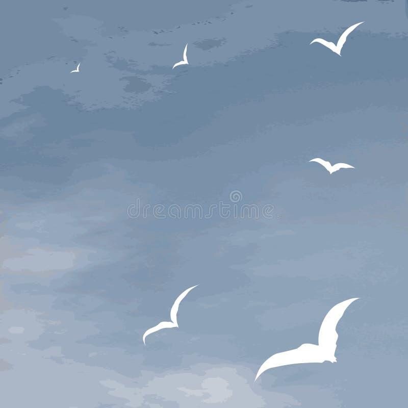 tła latający denny seagulls powierzchni wektor royalty ilustracja