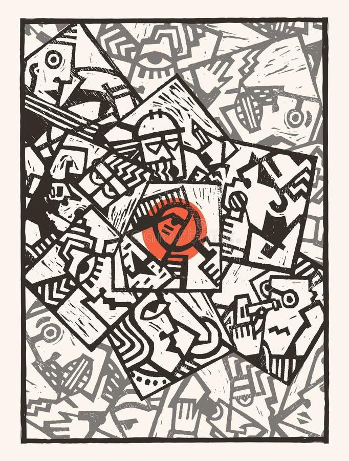 Tła linocut abstrakta charaktery ilustracja wektor