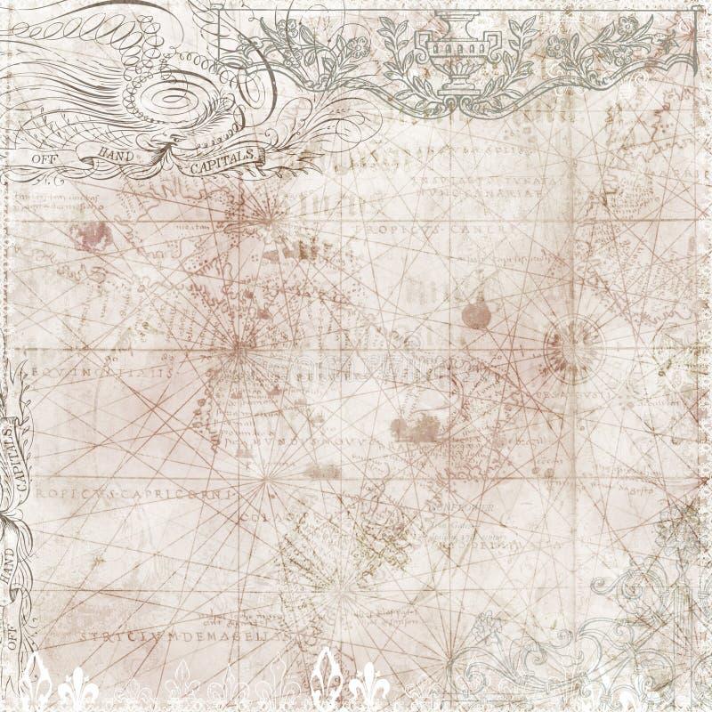tła mapy motywów stylowy wiktoriański rocznik ilustracja wektor
