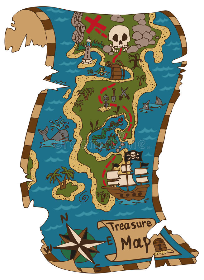 tła mapy stary papierowy skarbu wektor royalty ilustracja