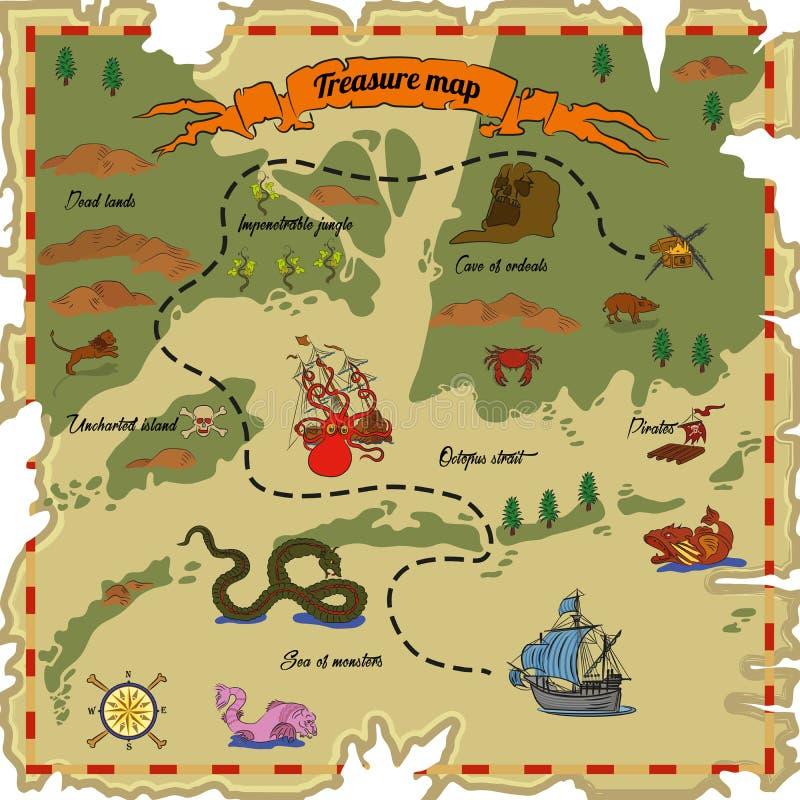 tła mapy stary papierowy skarbu wektor ilustracji