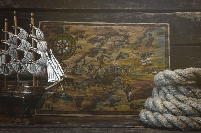 tła mapy stary papierowy skarbu wektor Podróży Lub przygody pojęcie zdjęcia royalty free