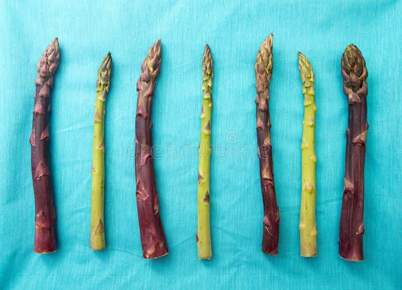 Tła mieszkania nieatutowy zielony purpurowy asparagus na błękicie overhead zdjęcia stock