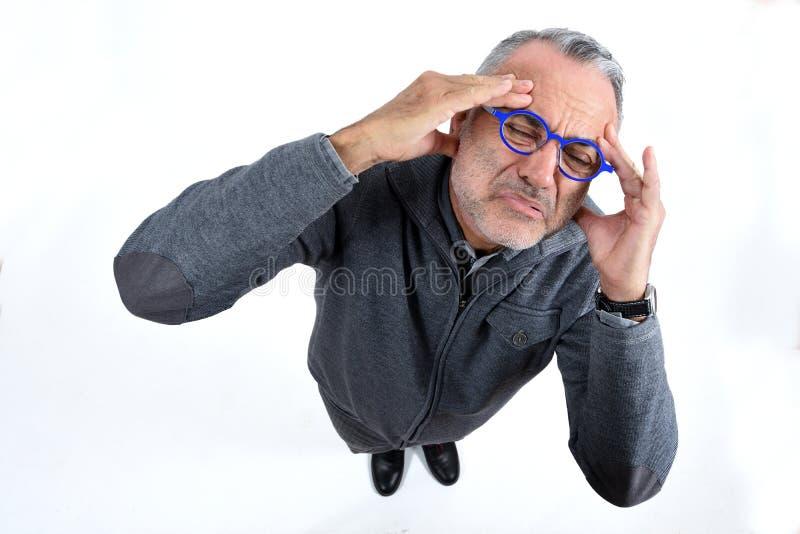 tła migreny mężczyzna strzału pracowniany biel zdjęcie stock