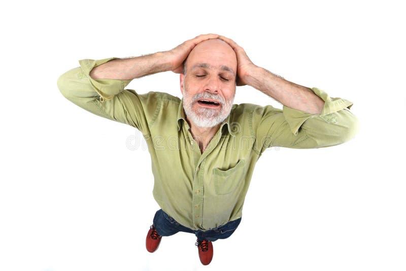 tła migreny mężczyzna strzału pracowniany biel fotografia royalty free