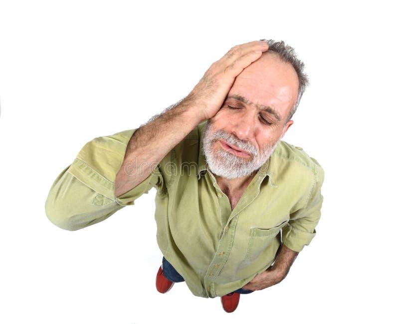 tła migreny mężczyzna strzału pracowniany biel fotografia stock