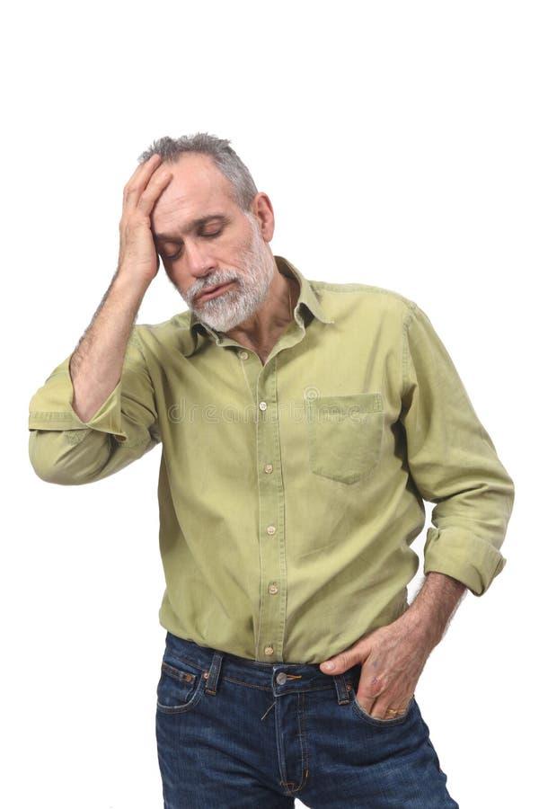 tła migreny mężczyzna strzału pracowniany biel zdjęcie royalty free