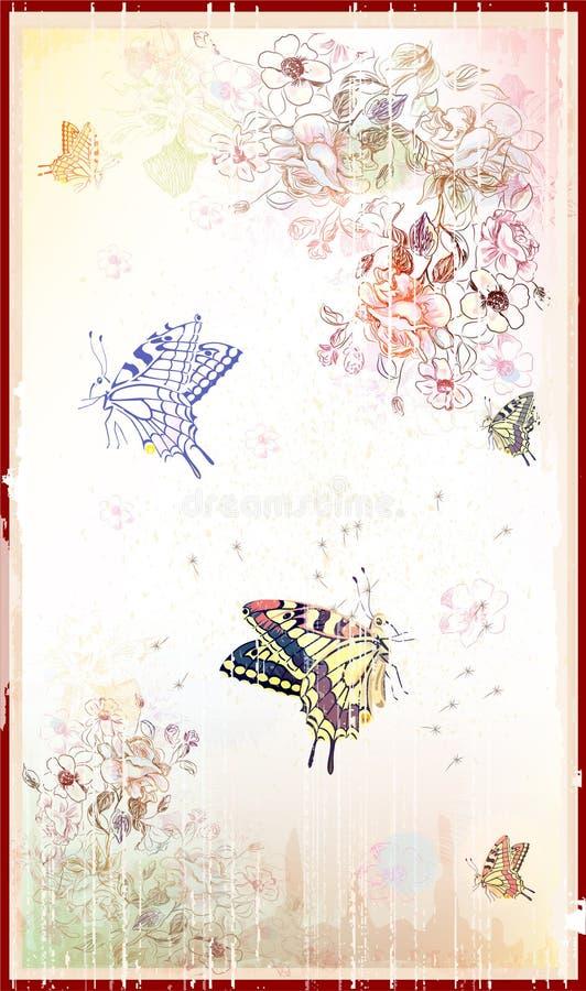 tła motyli kwiecisty rocznik royalty ilustracja