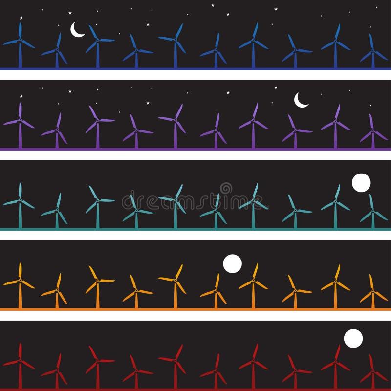 tła nighttime ustaleni wiatraczki ilustracja wektor