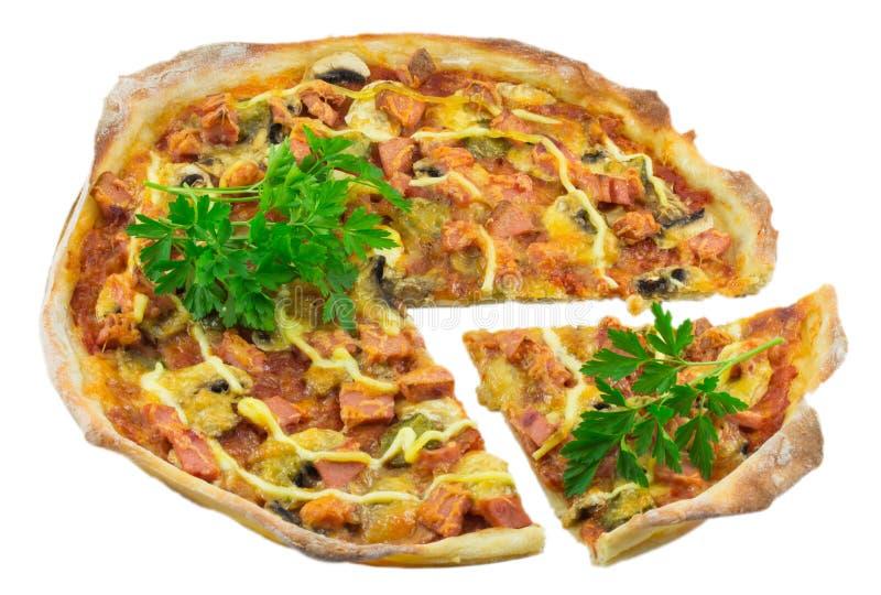 tła odosobniony pizzy biel zdjęcie royalty free
