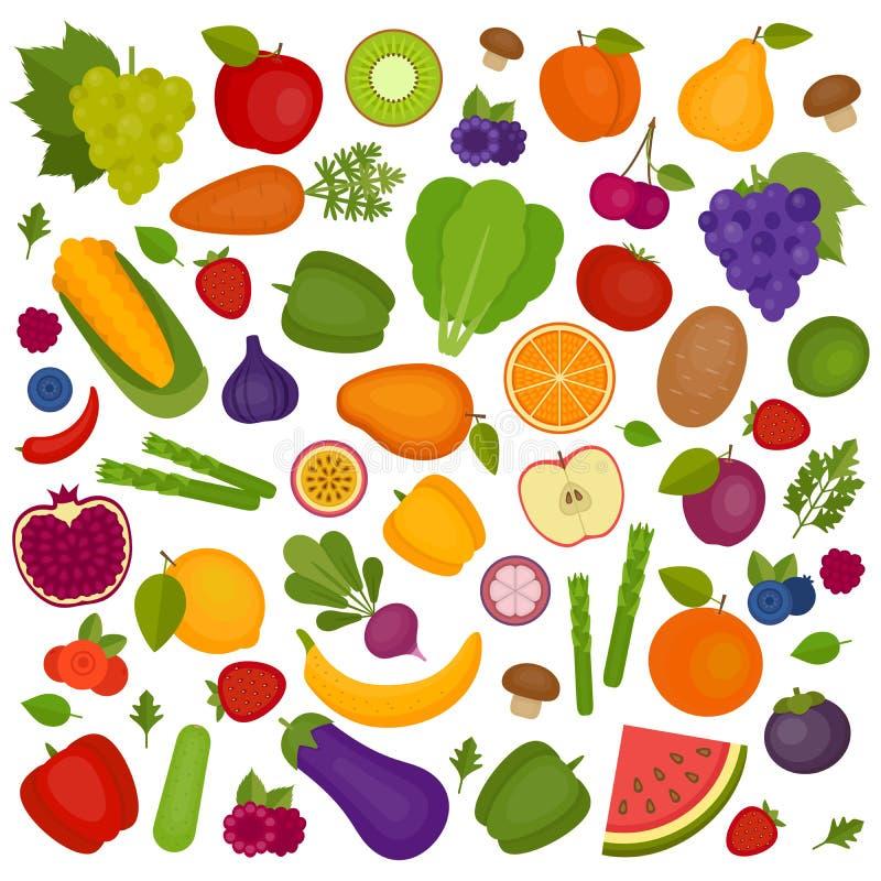 tła owoc warzywa Organicznie i Zdrowy jedzenie mieszkanie ilustracji