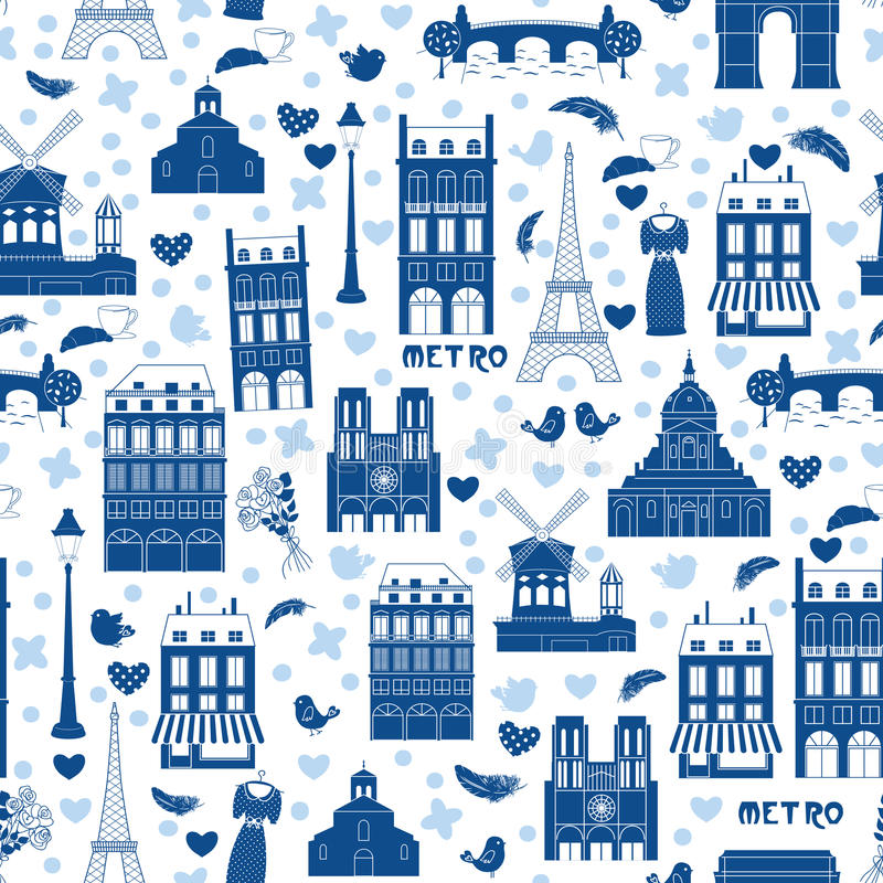 tła Paris wzór royalty ilustracja
