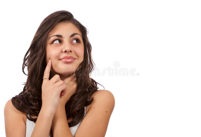 tła pięknej brunetki odosobniony biel obraz stock