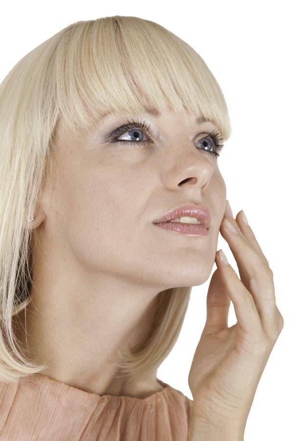 tła piękny blondynki dziewczyny biel fotografia royalty free