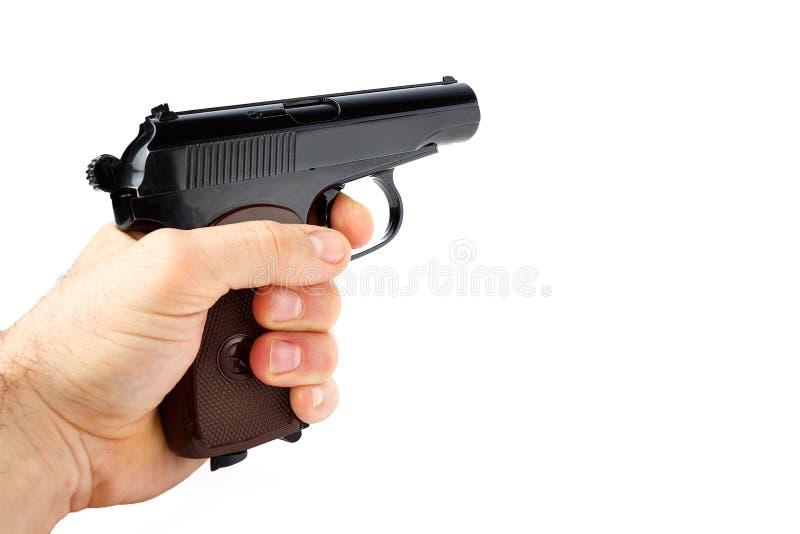 tła pistoletu ręki chwyty odizolowywali biel fotografia royalty free