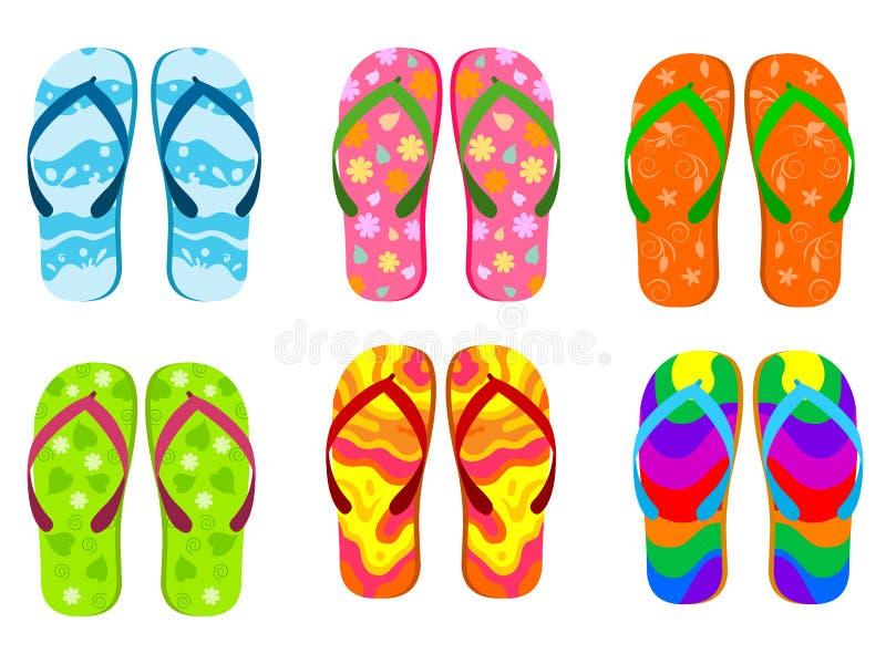 tła plaży trzepnięcia klap ilustracyjni odosobneni sandały ustawiający wektorowy biel ilustracji