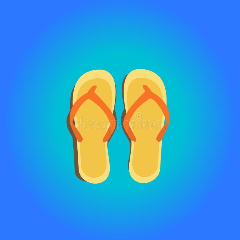 tła plaży trzepnięcia klap ilustracyjni odosobneni sandały ustawiający wektorowy biel obrazy royalty free