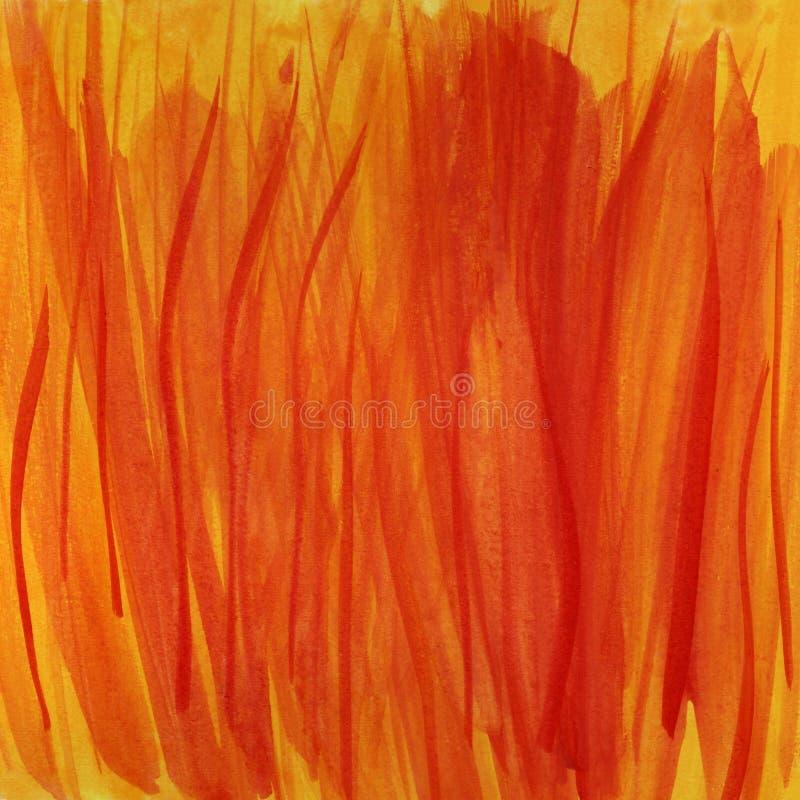 tła pożarniczych płomieni czerwony akwareli kolor żółty ilustracja wektor
