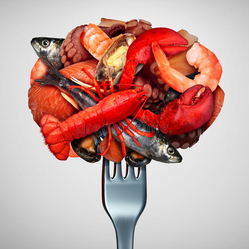 tła pojęcia mienie odizolowywał langoustine cytryny owoce morza biel royalty ilustracja