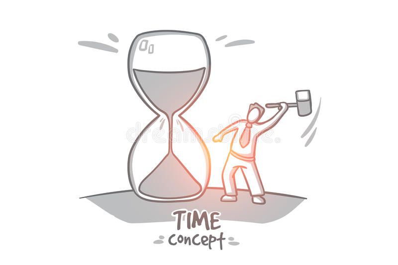 tła pojęcia odosobniony przedmiota czas biel Ręka rysujący odosobniony wektor ilustracji