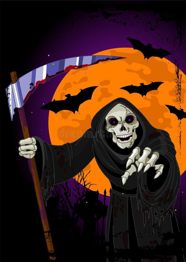tła ponura Halloween żniwiarka ilustracja wektor