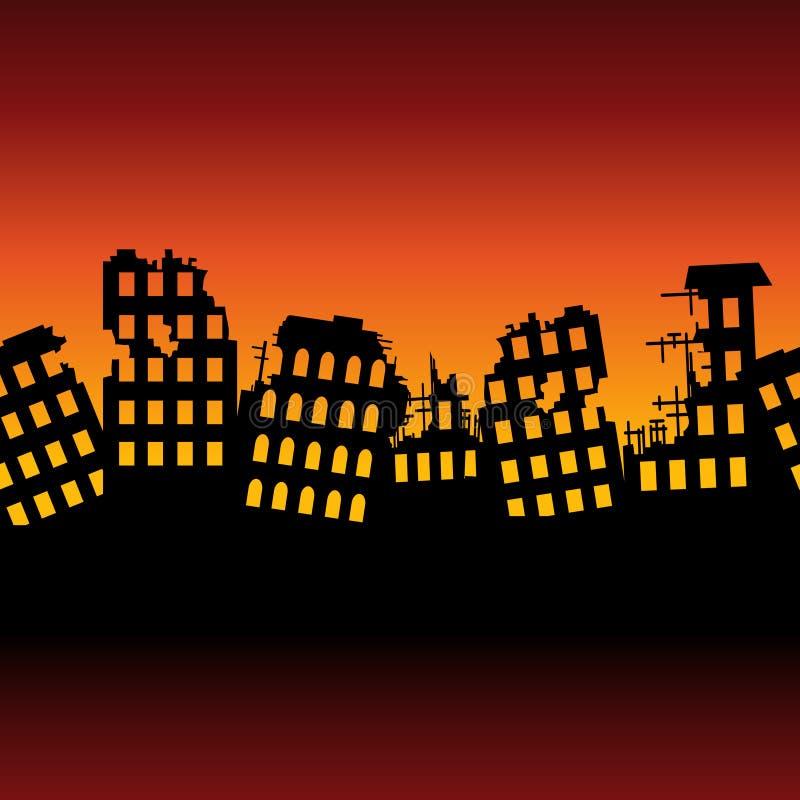 Tła powojenny rujnujący miasto ilustracji