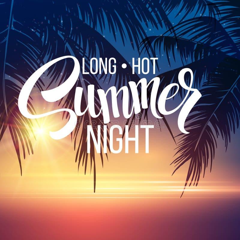 tła projekta kwiecistej noc bezszwowy lato twój Drzewka palmowe w nocy wektor ilustracja wektor