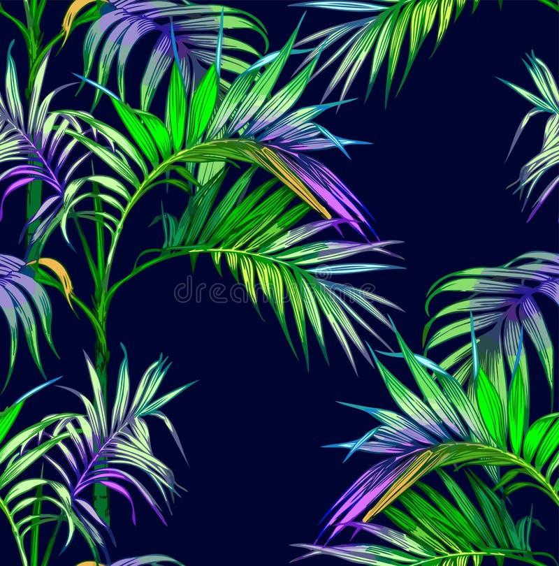 tła projekta kwiecistej noc bezszwowy lato twój Drzewko palmowe w nocy bezszwowy wzoru royalty ilustracja