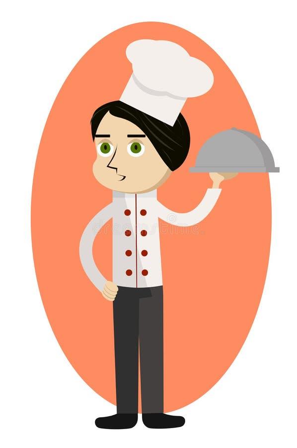 tła przewożenia kreskówki szef kuchni obiadowego posiłku menu obiadowy talerz ilustracji