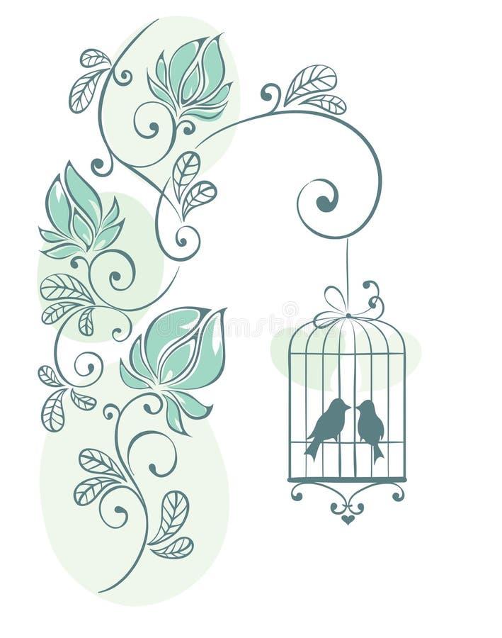 tła ptaków kwiecista miłość ilustracji