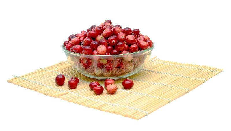 tła pucharu cranberries szklany biel fotografia stock