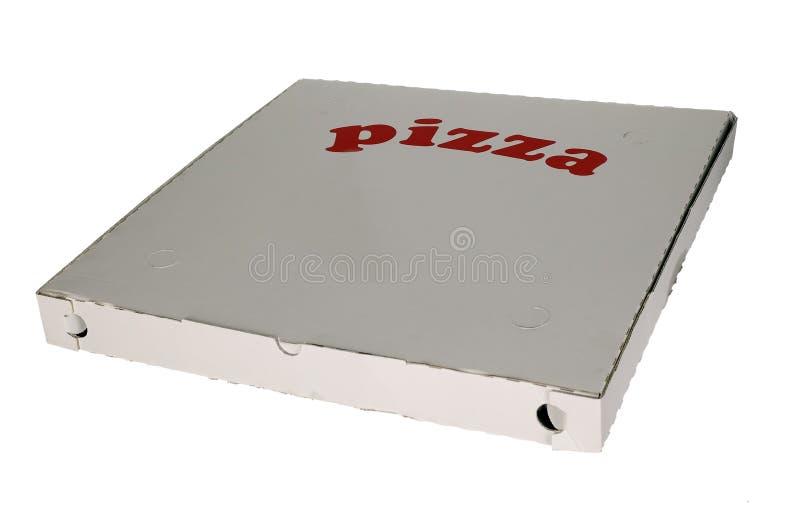 tła pudełkowaty pizzy biel zdjęcie stock