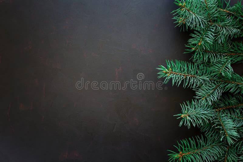 tła rabatowego pudełek bożych narodzeń prezenta złoci odosobneni faborki biały Jedlinowe gałąź na ciemnym drewnianym tle zdjęcie royalty free