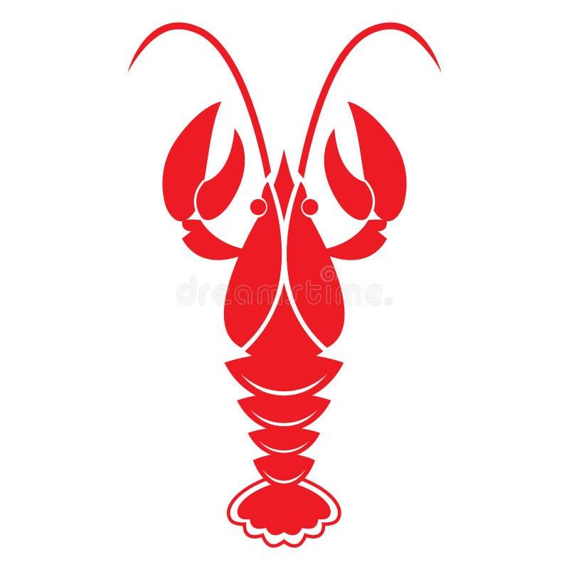 tła raków czerwony biel Wektorowa ikona lub znak ilustracji