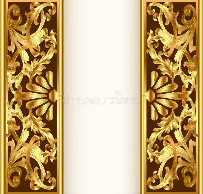 tła ramowy złota wzoru warzywo royalty ilustracja