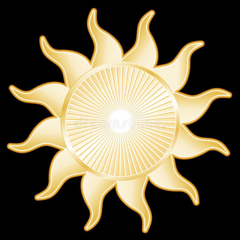 tła słońce czarny złoty ilustracji