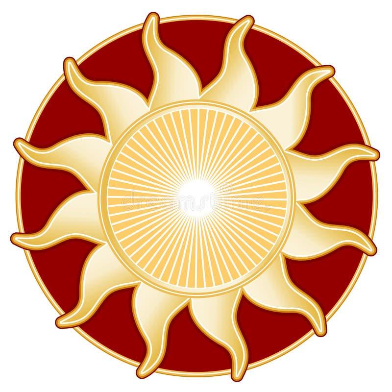 tła słońce złoty czerwony ilustracja wektor