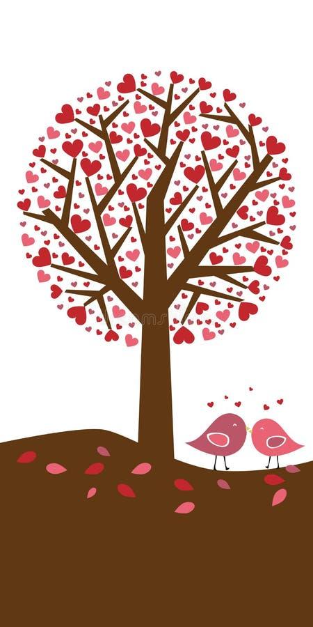 tła serc tematu drzewa valentine ilustracja wektor