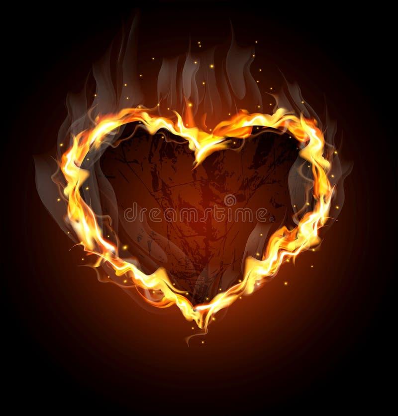 tła serce czarny ognisty ilustracji