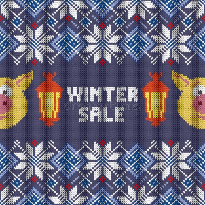 tła sprzedaży teksta wektoru zima Bezszwowy woolen trykotowy boże narodzenie wzór z żółtymi świniami i płonącymi lampionami ilustracji