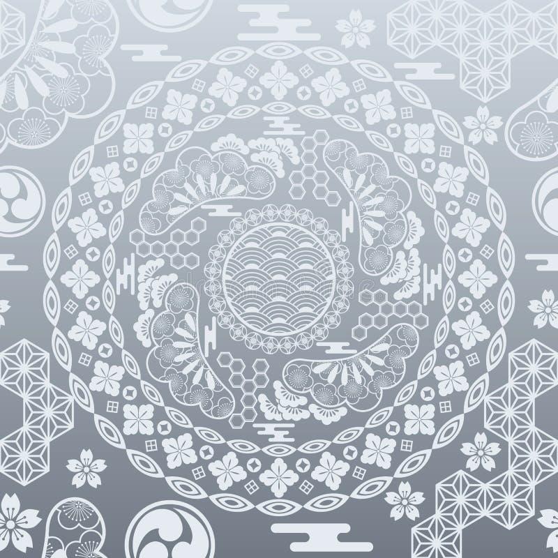 tła srebro japoński nowożytny bezszwowy ilustracji