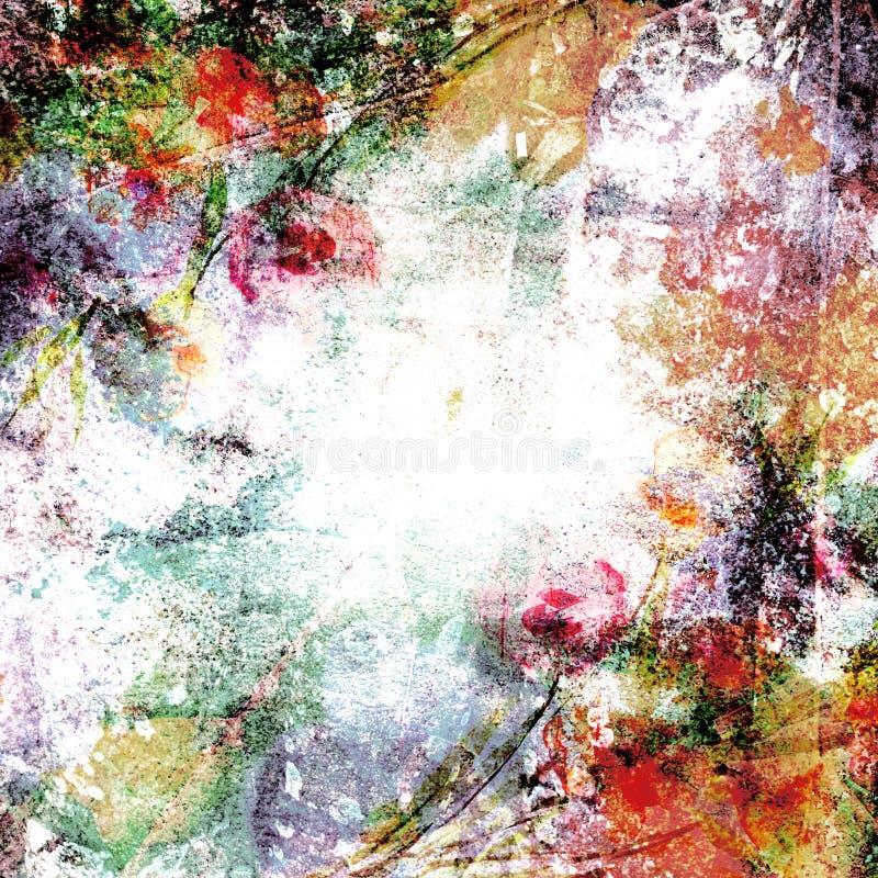 tła suchych kwiecistych liść stara papierowa roślina plamił rocznika ilustracji